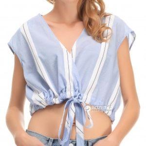NWT Zara Striped Summer Crop Top with Tie Waist